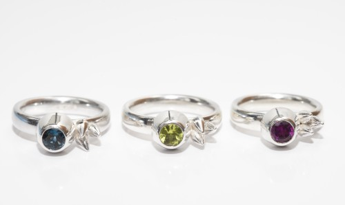Spikes and Honey Pots Ring in Topaz, Peridot and Garnet