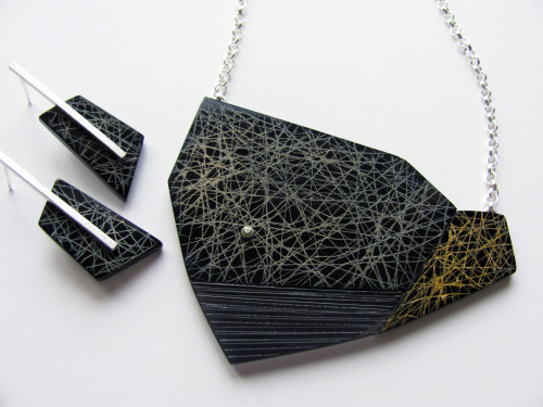 Cartographic- Light Pollution, necklace and earrings