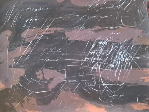 SQUALL , chemigram with scraped -out addition
