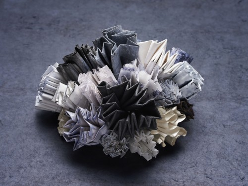 Mixed media centrepiece (paper, steel-mesh, silver, plastic) - image by Charlie Murray