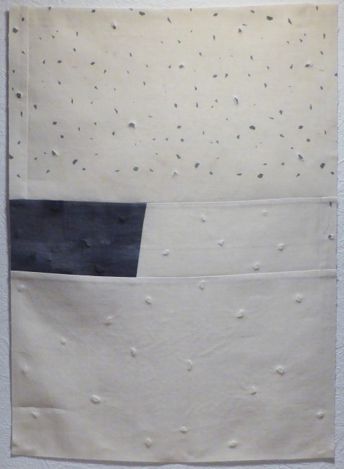 Embossed, screen printed, patchwork linen (39 x 54cm)