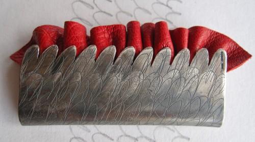 brutal pendant etched, oxidised silver