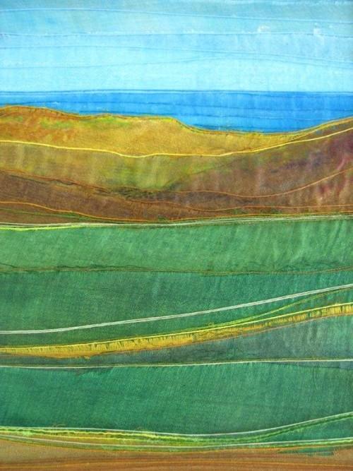 Hill (Dye painted sari silk and thread)
