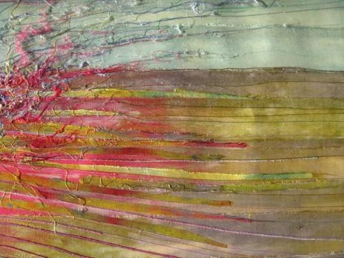 Muirburn (Dye painted sari silk and thread)