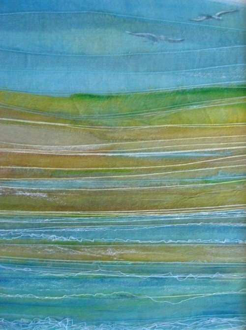 Shore (Dye painted sari silk and thread)