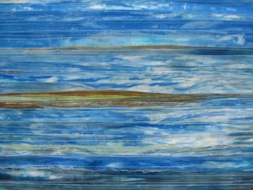 Island (Dye painted sari silk and thread)