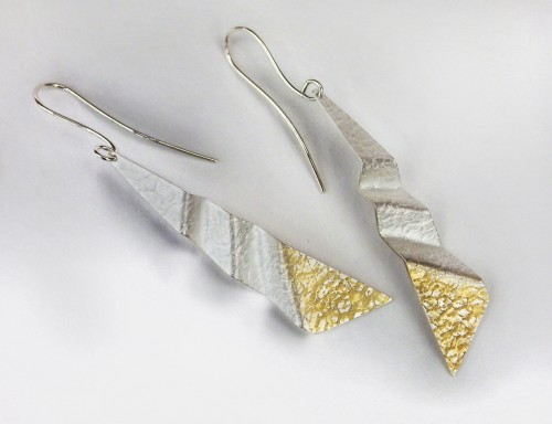 Island Tide, silver drop earrings with 24k gold details