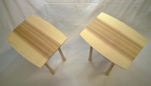 Pair of ash side tables