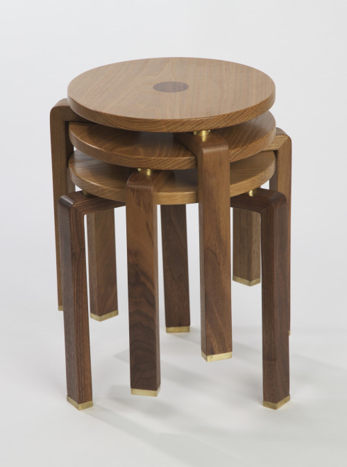 JC-60 Stool, walnut, oak & brass