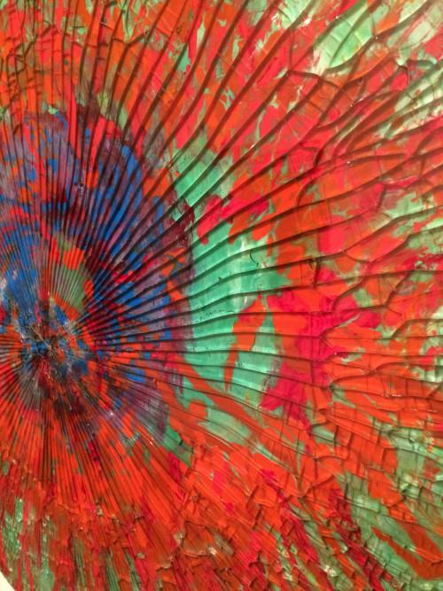 Fragmented World (II) oil on shattered glass 80cm diam
