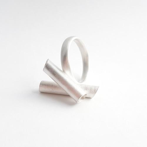 Bark ring, silver