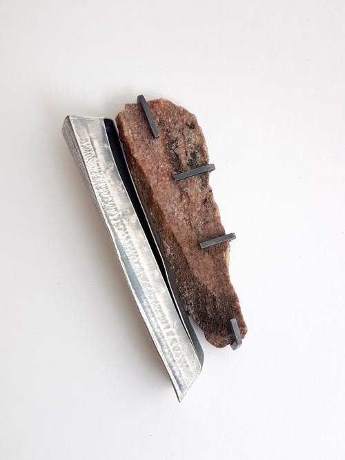 Rock brooch, silver, rock