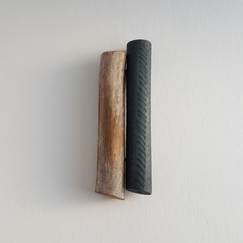 Lorg brooch, oxidised silver, wood