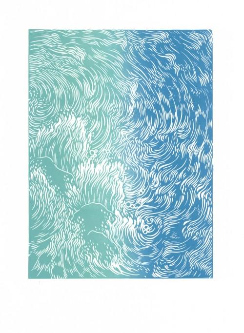 Waves Linocut
