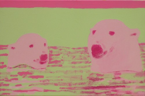 PolarBears Swimming in Sea at Sunset