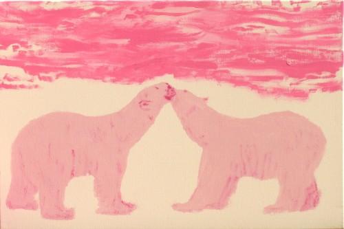 Polar Bears Kissing at Sunset
