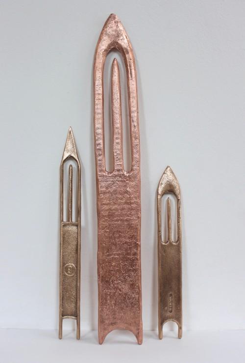 'Plastic Needle I' 2017, Bronze -'Wooden Needle' 2017, Copper -'Plastic Needle II', Bronze