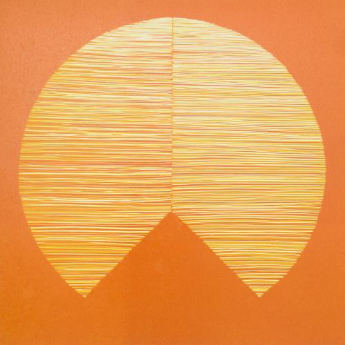 Resonance, 3 colour reduction lino print
