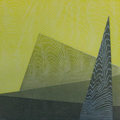 Grace, 5 colour reduction lino print