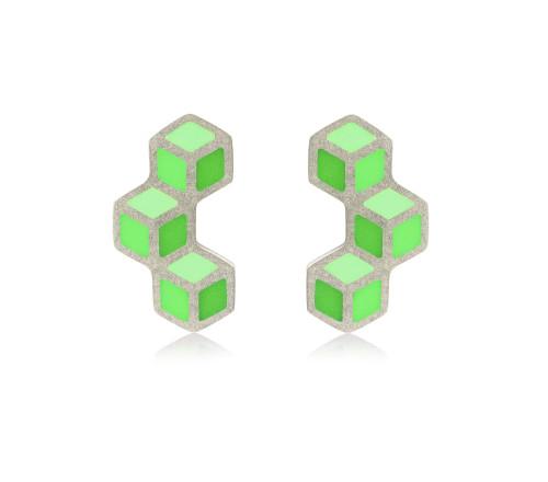 Cube trois vertical earrings