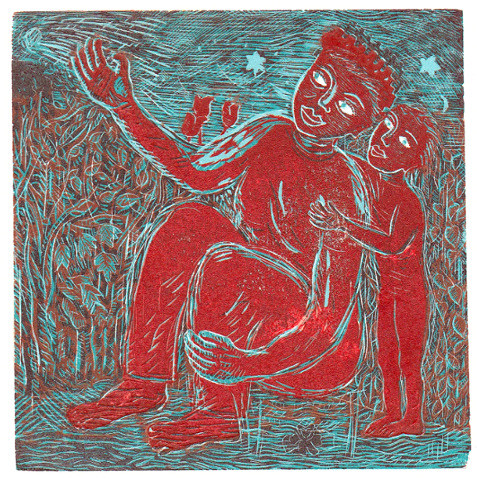 Look. Colour reduction wood engraving.