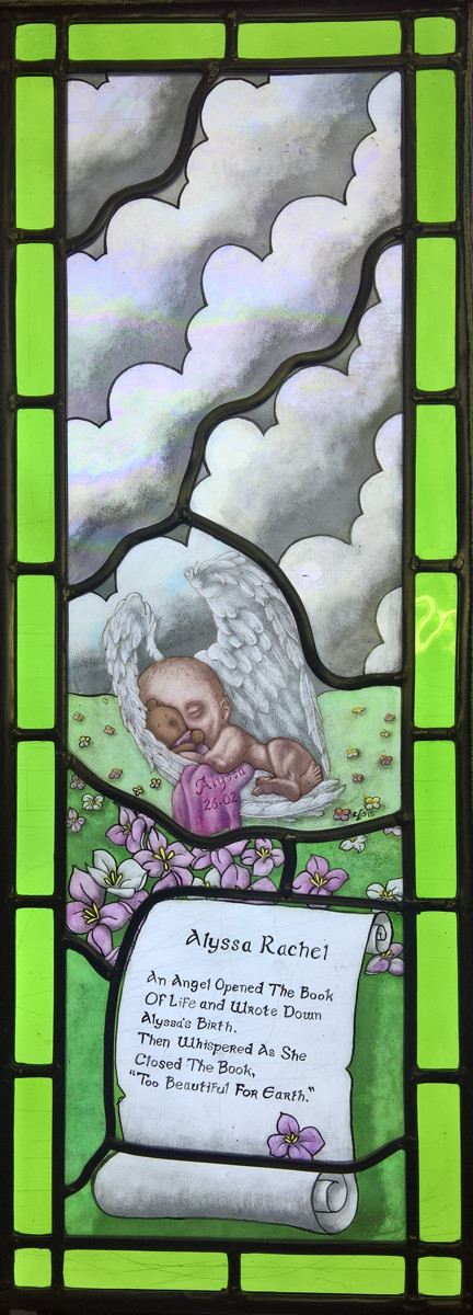 Alyssa Memorial Window - Painted stained glass