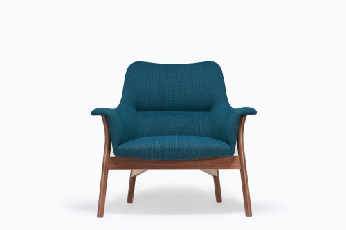 Oxbow lounge chair in American black walnut and new wool fabric by Eleanor Pritchard Studio