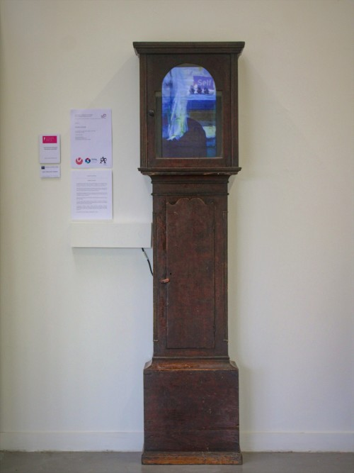 2019  'Intuition Tested and Applied'. (Conscious)Vintage Grandfather Clock-case, Television, Moving Image