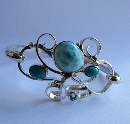 Lorimar, turquoise and blue topaz solid silver curl bracelet