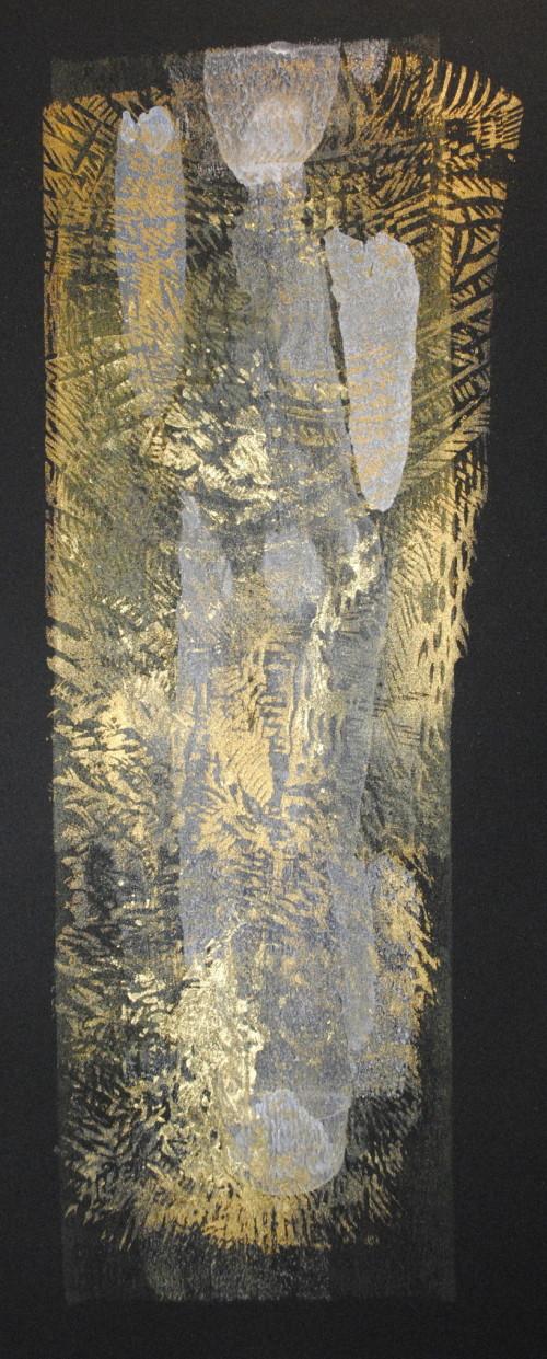 Peat bog deity. Monoprint/woodcut/mica powder
