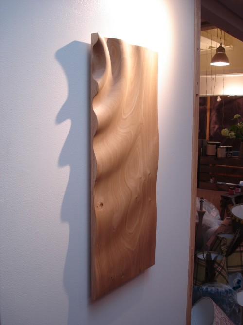 Hand carved ripple wall panel