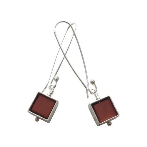 Framed cube earrings