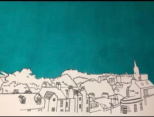 Edinburgh Skyline in Teal