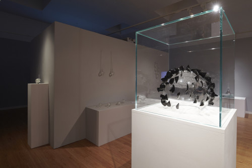 Foreground: Outlook. Background: Letting Go, I've walked this path my whole life, Choker, Wane. Forgiveness install shot: Inverness Museum and Art Gallery. Photo: Ewan Weatherspoon