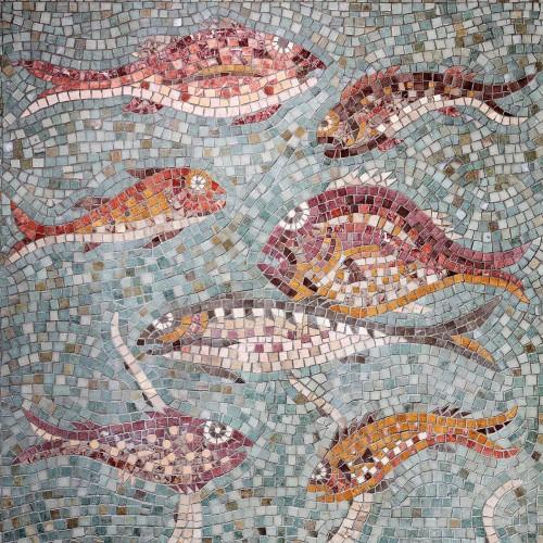 Bathroom fish panel, detail