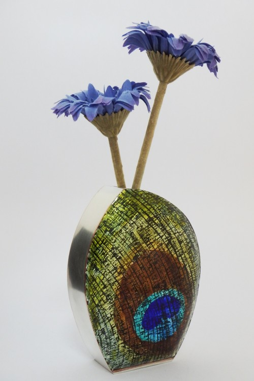 Enamelled Peacock vase