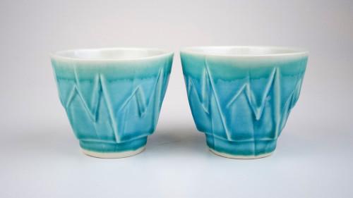 Stalactite Cups with matt turquoise glaze