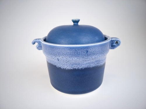 Lidded crock with lugs and midnight blue glaze