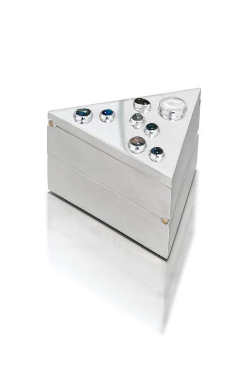 Double hinged pill box