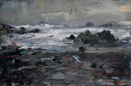 Travelban 3, From Priests' Cove (Cornwall), oil on paper, 5x7in, 2020
