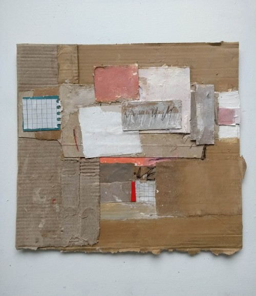 Collage on an old cardboard box