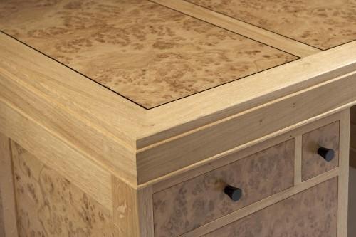 Partners desk  - burr oak