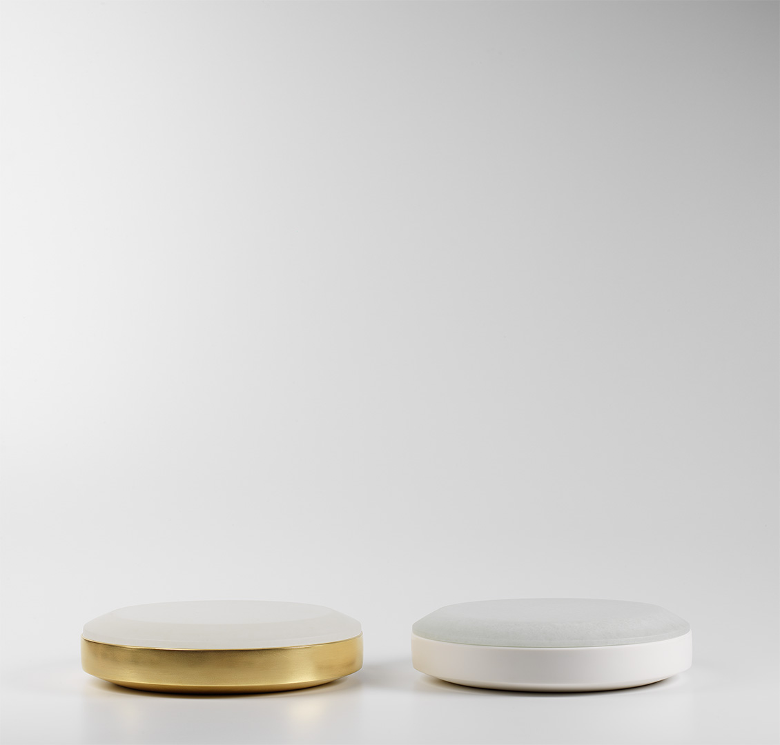 Pair of Large Round Boxes with 22ct Burnished Gold,