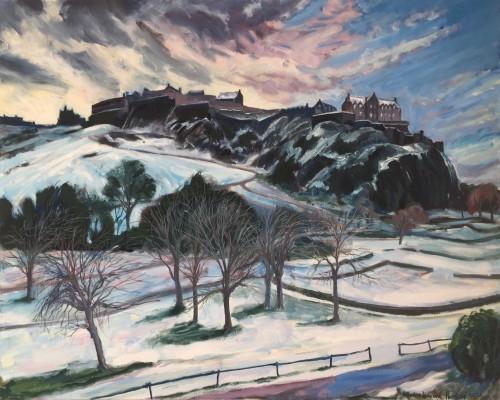 'Edinburgh Castle, February 2021' - 100x80cm - Oil paint on canvas