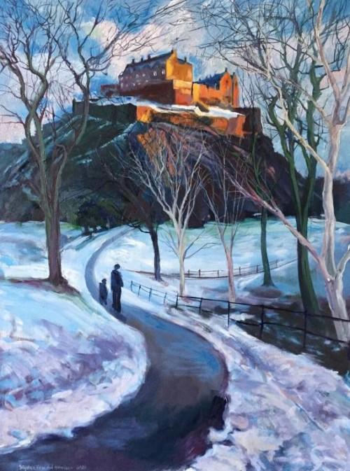 'Golden Winter Sunlight on Edinburgh Castle' - 60x80cm - Oil paint on canvas