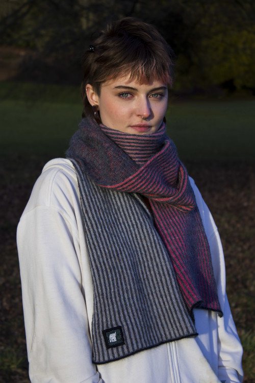 Hand dyed Merino on Mohair scarf.