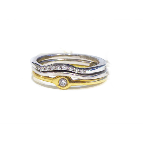 Staking rings - engagement, wedding , anniversary 18K gold, diamonds