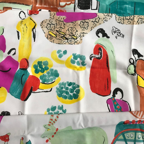 'The Market' - Illustrated Fabric