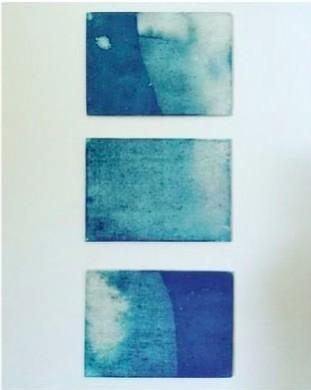 Sea Print, using sea tides and cyanotype