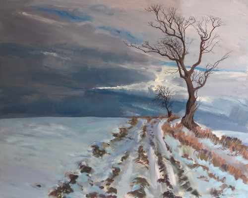 'Remembering the Winter of 2020/21, Fife' - Oil paint on canvas - 100x80cm - 2021